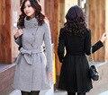 Hot! 2016 outono / inverno coreano mulheres lã longo casaco de manga longa magro do sobretudo moda Casual casacos Womenn Cashmere casaco de lã