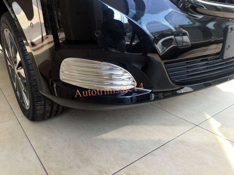 2pcs ABS Chrome Front Fog Light Lamp Cover Frame Trim for Mercedes Benz Metris Valente Viano V-Class W447 2014-2016 цены