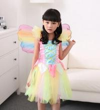 elf tinkerbell princess halloween costume for kids carnival costume for girl children cosplay stage wear costume with wing
