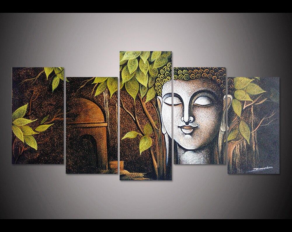 print 5pcs canvas wall art print abstract texture buddha painting wall art home decor canvas art. Black Bedroom Furniture Sets. Home Design Ideas