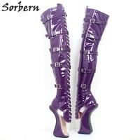 Sorbern блестящие фиолетовый прозрачный ПВХ сапоги балетки на высоком каблуке пикантные Фетиш нешипованной выше колена сапоги унисекс Crosss оде