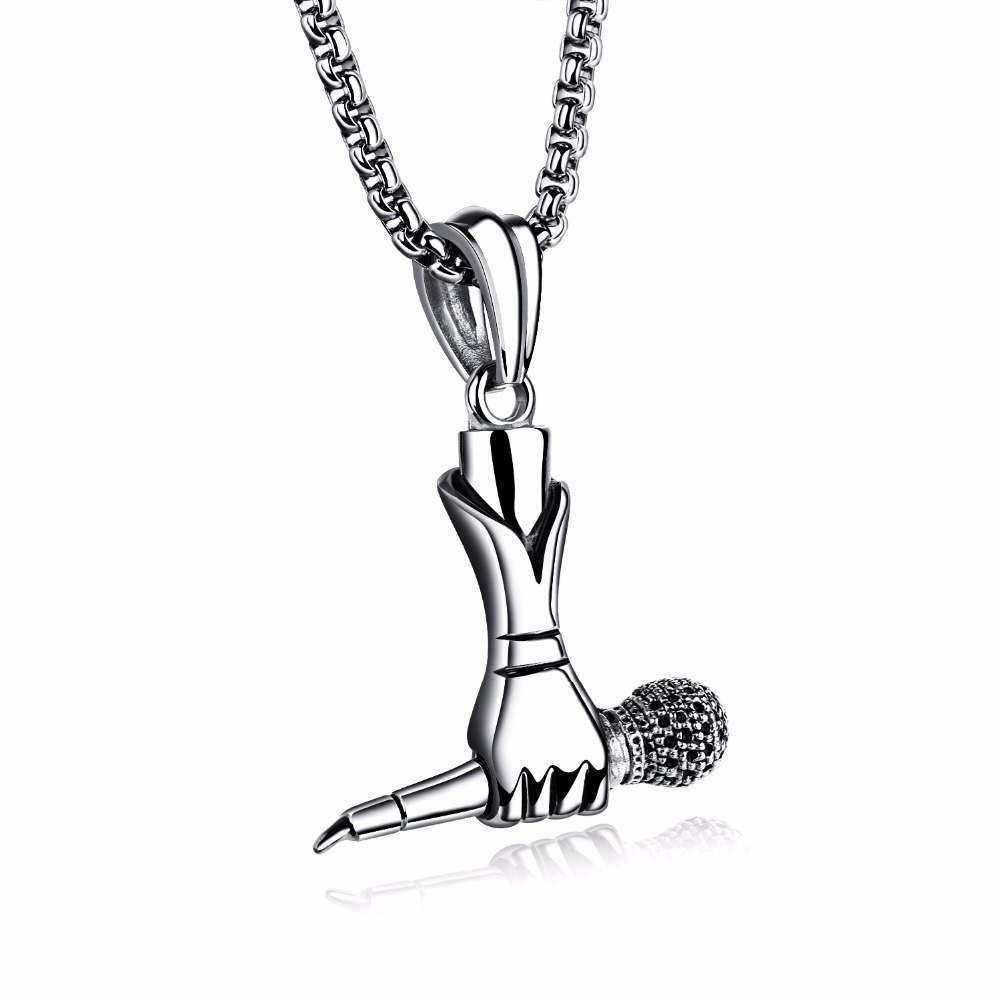Hand holding the microphone Pendants Jewelry Necklace Men Gifts For Women Hip Hop Stainless Steel Chains