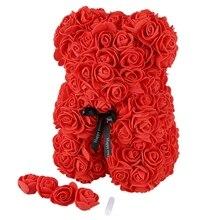 23 см пенопласт медведь розы искусственные подарки на Новый год для женщин подарок на день Святого Валентина 4 цвета