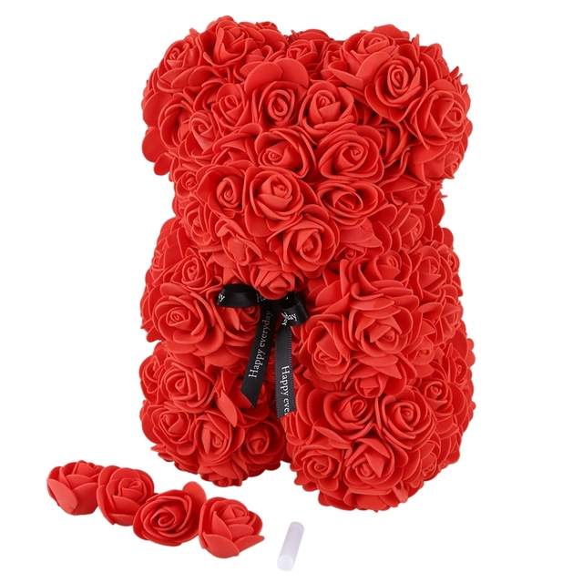23Cm Foam Bear Of Roses Bear Rose Flower Artificial New