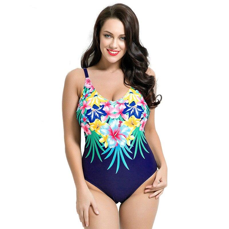 d566766e1 Nova Mulher Sexy do Ajuste 50 s Estilo One Pieces Maiô Plus Size Swimwear  Copo 80DE Ombro cinto de Emagrecimento Maiô Impressão planta