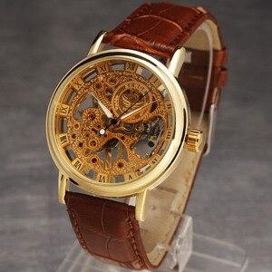 Image 2 - カジュアル新ファッション Sewor ブランドスケルトン男性男性軍の軍隊時計古典的な高級ゴールド機械式ハンド風腕時計ギフト