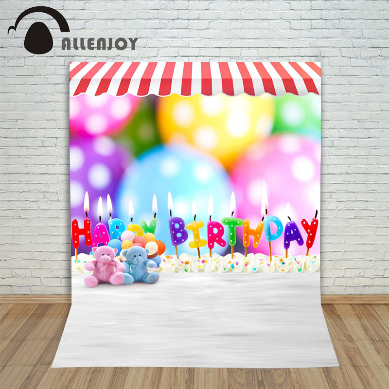 Allenjoy photographic background Fuzzy teddy bear toys birthday candles backdrops newborn wedding vinyl props 7x5ft