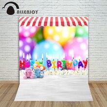 Allenjoy фотографический фон нечеткой мишка игрушки День рождения свечи фонов новорожденных свадьба винил реквизит 7x5ft