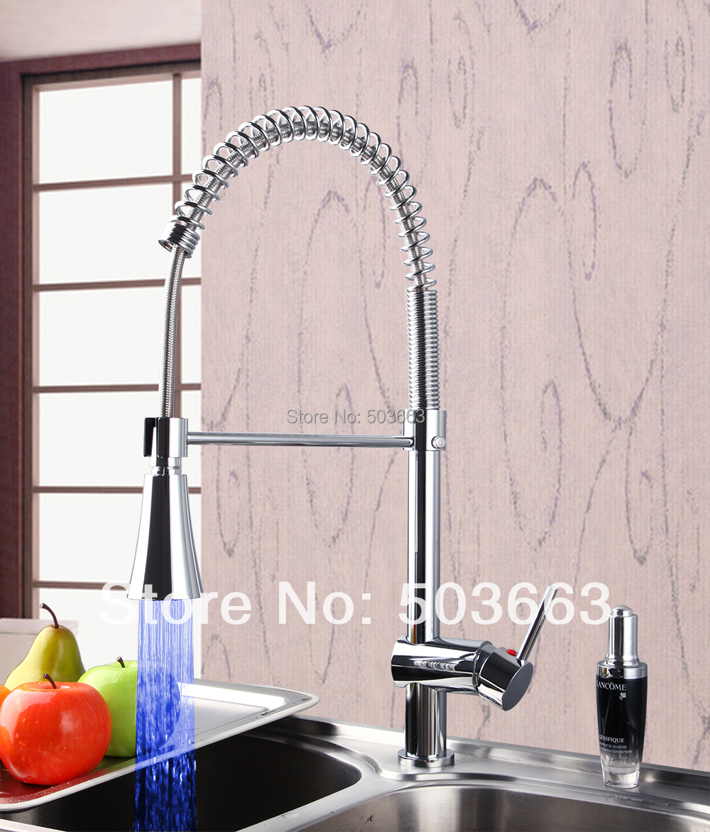 New Pull Out Led Stream Chrome Faucet Kitchen Basin S 697 Mixer Tap Faucet