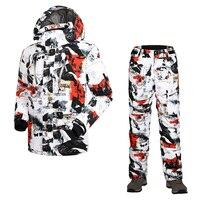 Новые мужские лыжный костюм куртка + брюки ветрозащитные водонепроницаемые спортивная одежда отдых езда Сноуборд костюм комплект супер те
