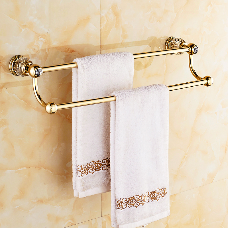 Polished Brass Bathroom Towel Bars: Antique Brass Polished Towel Racks Luxury Double Layer
