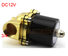 "Free Shipping 2017 New DC12V 3/4"" Electric Solenoid Valve Alloy Water Air N/C Gas Water Air 2W200-20 ALLOY"