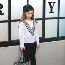 2016 Autumn Girls Long Sleeves T Shirts Tops for Teenage Tees for Children Kids Age 5