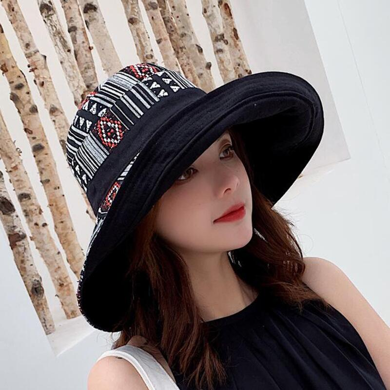 HTB1BAeEbtfvK1RjSspfq6zzXFXaP - Double sided irregular Pattern Bucket Hat Women Summer Cotton Breathable Leisure Bob Caps Outdoor Sports Casual Dome Panama Cap