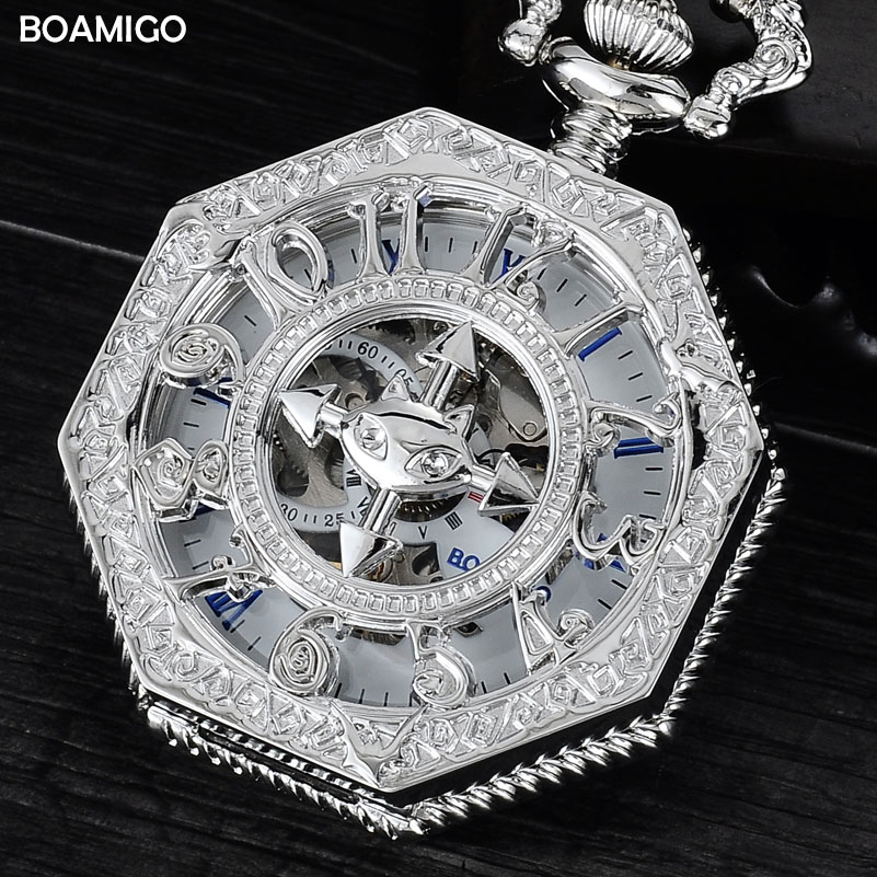 FOB Men Pocket Watches Fashion Mechanical Watches BOAMIGO Brand Skeleton Arbic Number Watch Silver Chain Gift Clock Reloj Hombre