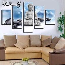 FULLCANG 5d diamond mosaic stone buddha diy painting 5 pcs full square embroidery portrait pattern F203