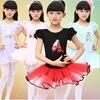 Kids Girls Short Sleeve Ballet Dance Dress Bodysuit Leotard Cotton Blend Dancewear Girl Gymnastics Dance Dress
