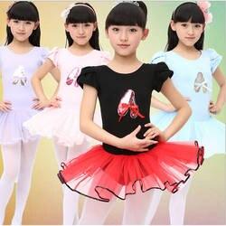 Дети Обувь для девочек короткий рукав одежда для бальных танцев боди Купальник Смешанный хлопок танцевальная одежда девушка Гимнастика