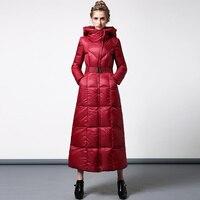 High Quality S 4XL Cotton Wool Big Coat Women Winter Parka Plus Size X long Jacket Warm Overcoat With Belt Red Outwear Cap 6409