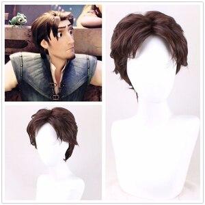 Emaranhado peruca cosplay rapunzel flynn rider homens curto encaracolado cabelo sintético para adulto role play + touca peruca