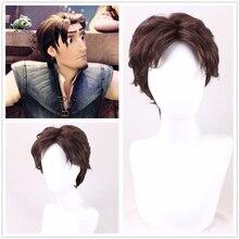 Karışık Cosplay peruk Rapunzel Flynn Rider erkekler kısa kıvırcık sentetik saç yetişkin rol oynamak + peruk kap