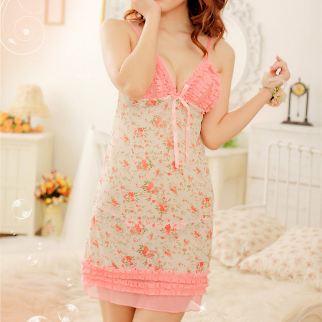 17abc8a83daf1 Fashion Porn Women Negligee Hot Sexy Lingerie Lace Dress Flower Pattern  Sleepwear Sets Baby doll Dress+G string Sex Underwear