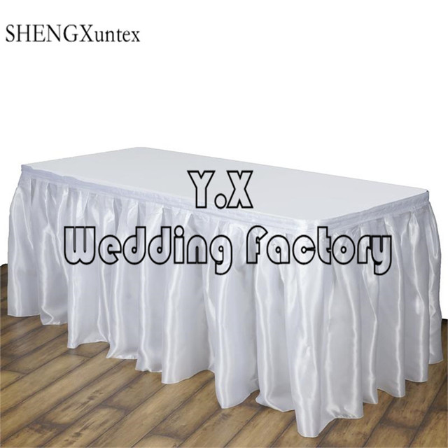 nice Satin Table Skirt Part - 13: WHITE Color Satin Table Skirt \ Table Cloth Skirting For Wedding Event  Decoration