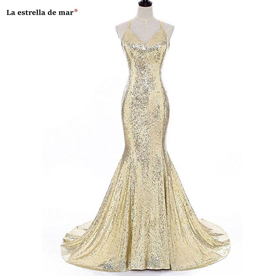 Vestido formatura 2019 nouveau col en v Spaghetti sangle licou paillettes corail sexy sirène robe de bal longue pas cher abiye gece elbisesi