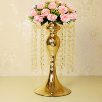 Metal Flower Vase Crystal Candle Holders 34CM/13.6'' Gold Tabletop Table Centerpiece For Wedding Decoration 10PCS