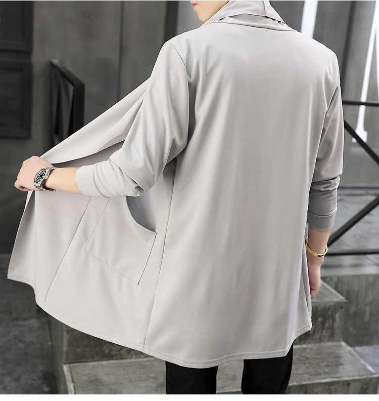 2018 новый мужской осенний длинный кардиган пальто мужской длинный рукав приталенный черный серый кардиганы драпированный воротник Повседневный Кардиган куртки