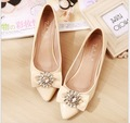2017 summer new fashion crystal flower women's shoes Pointed toe women shoes ballet flats big yards  40-43