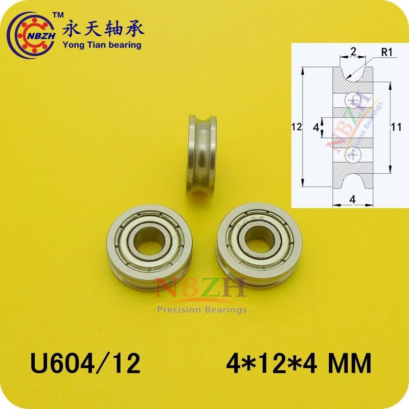 10pcs ABEC-1 4mm Walking guide rail groove U groove 604UU 4*12*4mm 3D printer dedicated feeding roller bearings U604/12 U604ZZ 1 piece bu3328 6 6 33 27 5 29 5 mm z25 guide rail u groove plastic roller embedded dual bearing