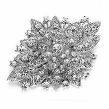 Темный посеребренный прозрачный горный хрусталь кристалл Диаманте большой цветок винтажный Букет Брошь