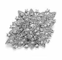 Dark Versilbert Klar Strass Kristall Diamante Große Blume Vintage Bouquet Brosche