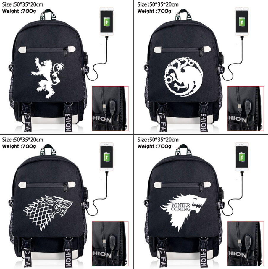 TV Show Game of Thrones Zip USB Charging Backpack School Bag Shoulder Bag Packsack Student Large-capacity Laptop Bag Travel BagTV Show Game of Thrones Zip USB Charging Backpack School Bag Shoulder Bag Packsack Student Large-capacity Laptop Bag Travel Bag