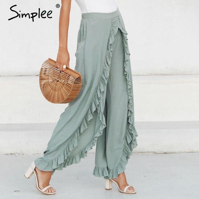 Simplee Sexy ruffles casual women pants capri High waist baggy split summer pants female Ladies wide leg trousers bottom 2019 3