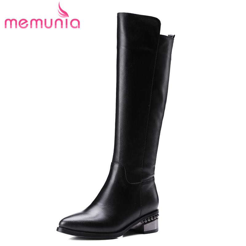 MEMUNIA 2018 genuine leather boots women solid colors low heels knee high boots warm autumn winter booties party shoes memunia solid two colors ankle boots for women winter boots low square heels zip fashion contracted boots party shoes
