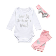 Get more info on the 3Pcs Newborn Infant Baby Girls Letter Romper Jumpsuit Leggings Headbands Outfits Set