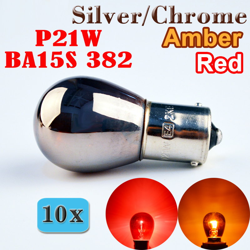 Flytop 10 x 382 S25 1156 P21W Silver / Chrome Red Amber BA15s 12V 21W Auto Brake Glass Lamp Car Tail Light