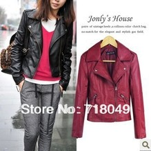 Free Shipping 2016 New Winter Women Coat Short Zipper Motorcycle Leather Jacket Pu Leather Clothes XS/S/M/L/XL
