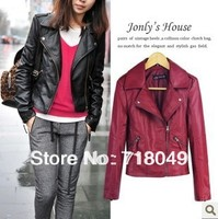 Free Shipping 2013 New Winter Women Coat Short Zipper Motorcycle Leather Jacket Pu Leather Clothes XS