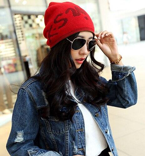 Korean fashion knit cap letter Autumn and winter hats cute simple style female hat warm double 7color 1pcs brand new arrive