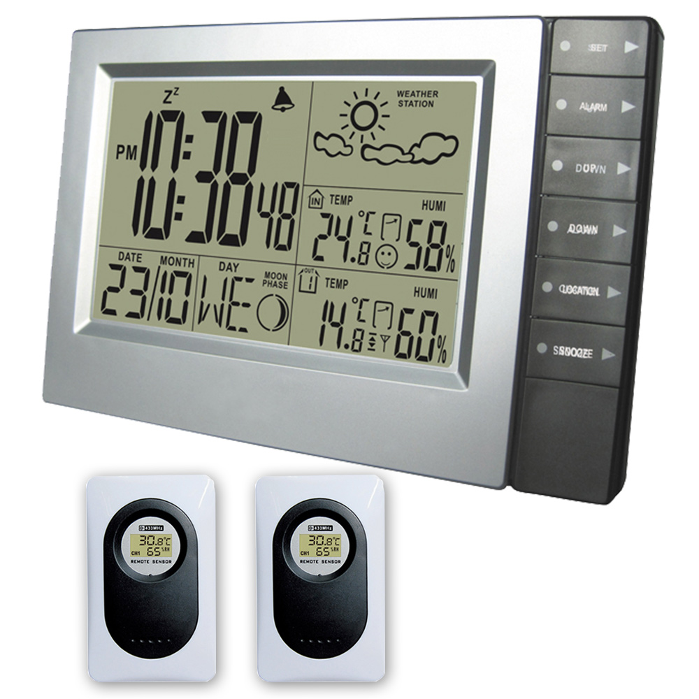 DYKIE Weather Station Indoor and Outdoor Electronic Temperature Humidity Alarm Clock Wireless Sensor Hygrometer Weather Forecast wireless color weather station indoor outdoor forecast temperature humidity alarm and snooze thermometer hygrometer us eu plug