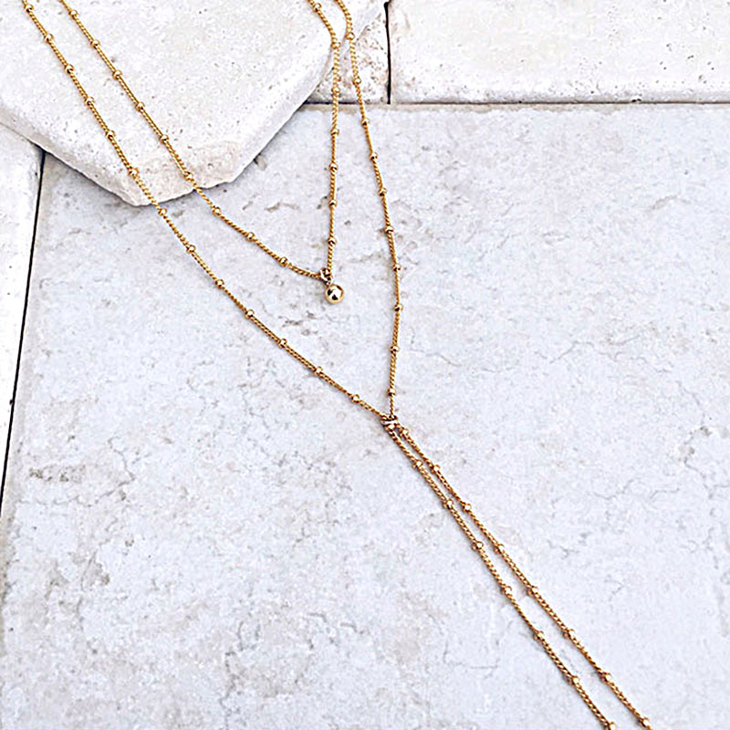 Sexy Beads Chain Lariat Choker Necklaces Long multilayer Water Drop Simple party kolye Statement Jewelry for Women collier femme 5