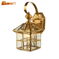 Classic Small House Vintage Outdoor Wall Lamp 110V 220V All Copper Glass Wall Light E27 Living