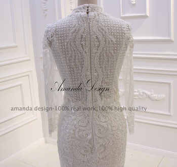 Amanda Design 2019 New Arrival High Neck Long Sleeve Lace Beading Mermaid Wedding Dress
