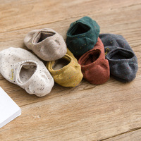 New Korean version of solid color embroidery invisible socks College wind low tube tide socks wholesale ladies socks SC080 6PK