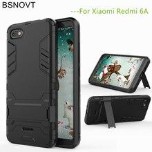BSNOVT For Xiaomi Redmi 6A Case Cover Soft Silicone + Plastic Kickstand Bumper 5.45