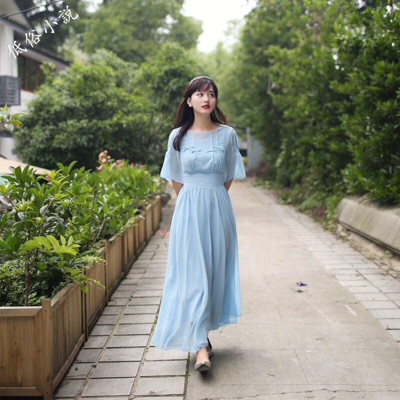 Medieval Renaissance Light Blue And White Gown Dress: Freeship Light Blue Chiffon Bowknotlong Dress Vintage