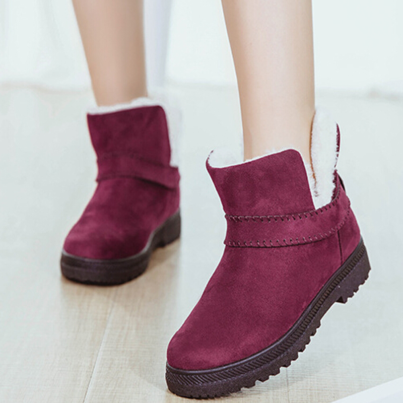 Fast delivery Snow boots 2018 fashion fur warm ankle boots women winter plush flat shoes Lace-Up plus size 35-43 for Female